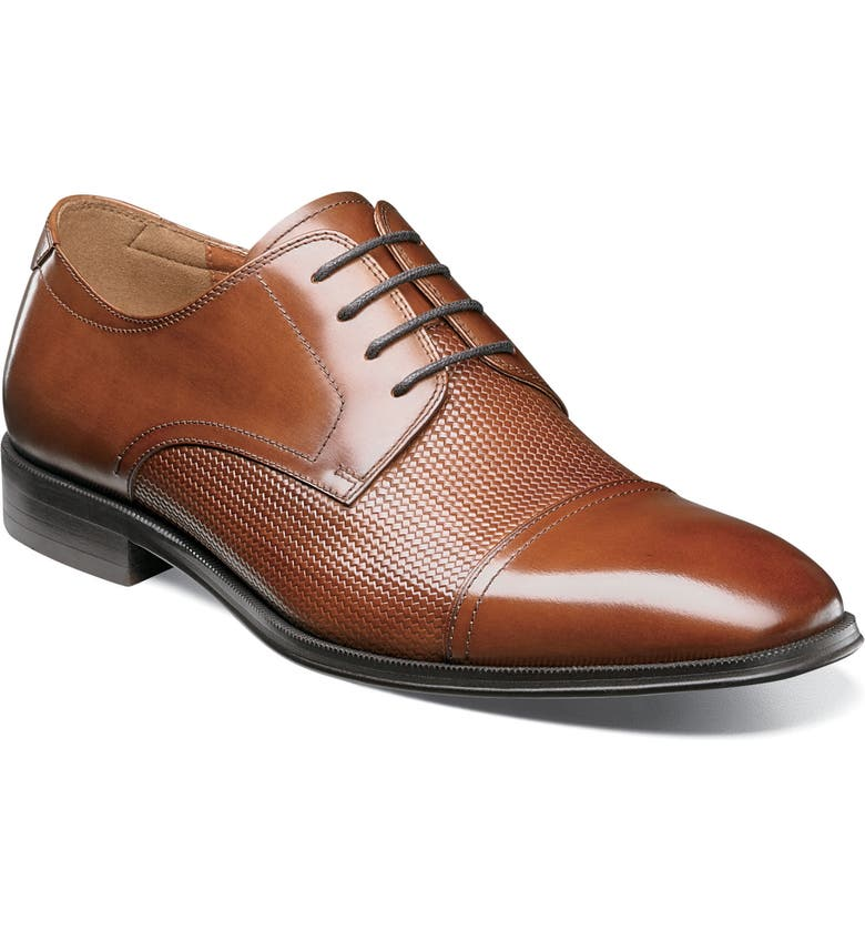 FLORSHEIM Belfast Embossed Cap Toe Derby, Main, color, COGNAC LEATHER
