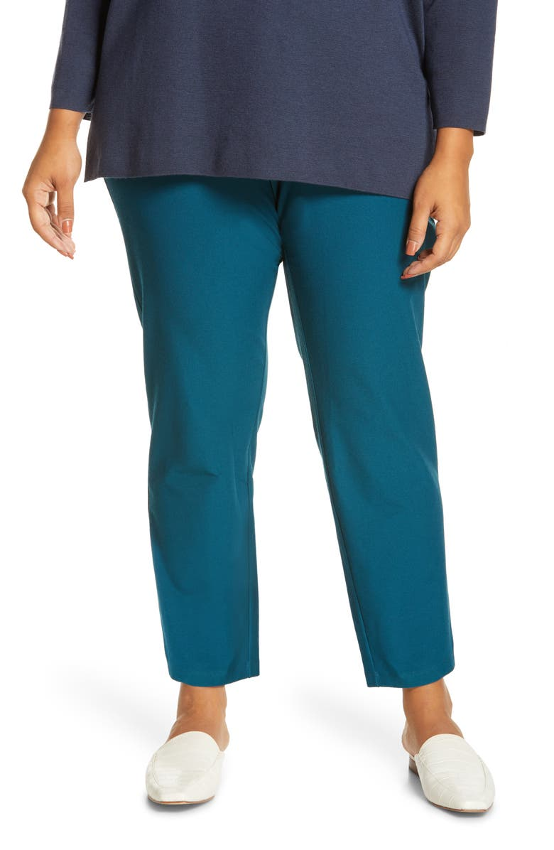 EILEEN FISHER Stretch Crepe Ankle Pants, Main, color, BLSPR