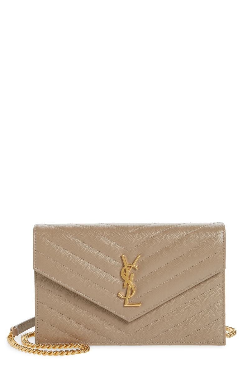 SAINT LAURENT 'Small Mono' Leather Wallet on a Chain, Main, color, 256