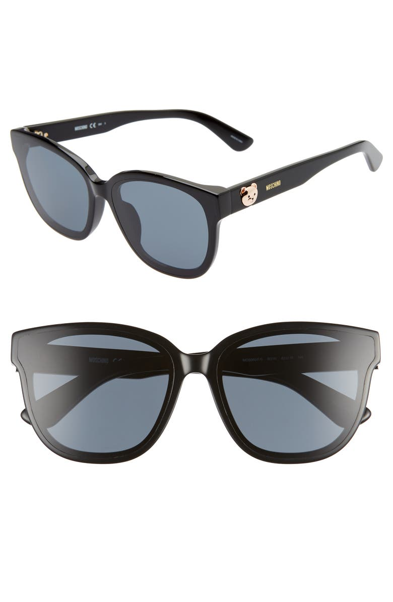 MOSCHINO 63mm Oversize Special Fit Sunglasses, Main, color, 001