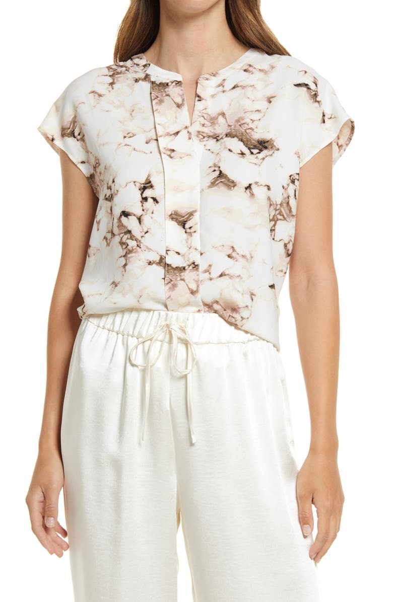 NORDSTROM Pleat Front Woven Top, Main, color, IVORY- GREY MARBELIZED PRINT