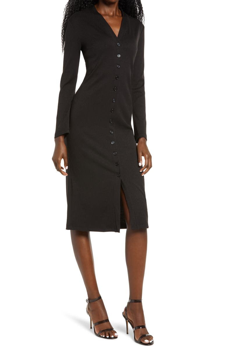 FRAICHE BY J Front Button Ribbed Long Sleeve Midi Dress, Main, color, 001