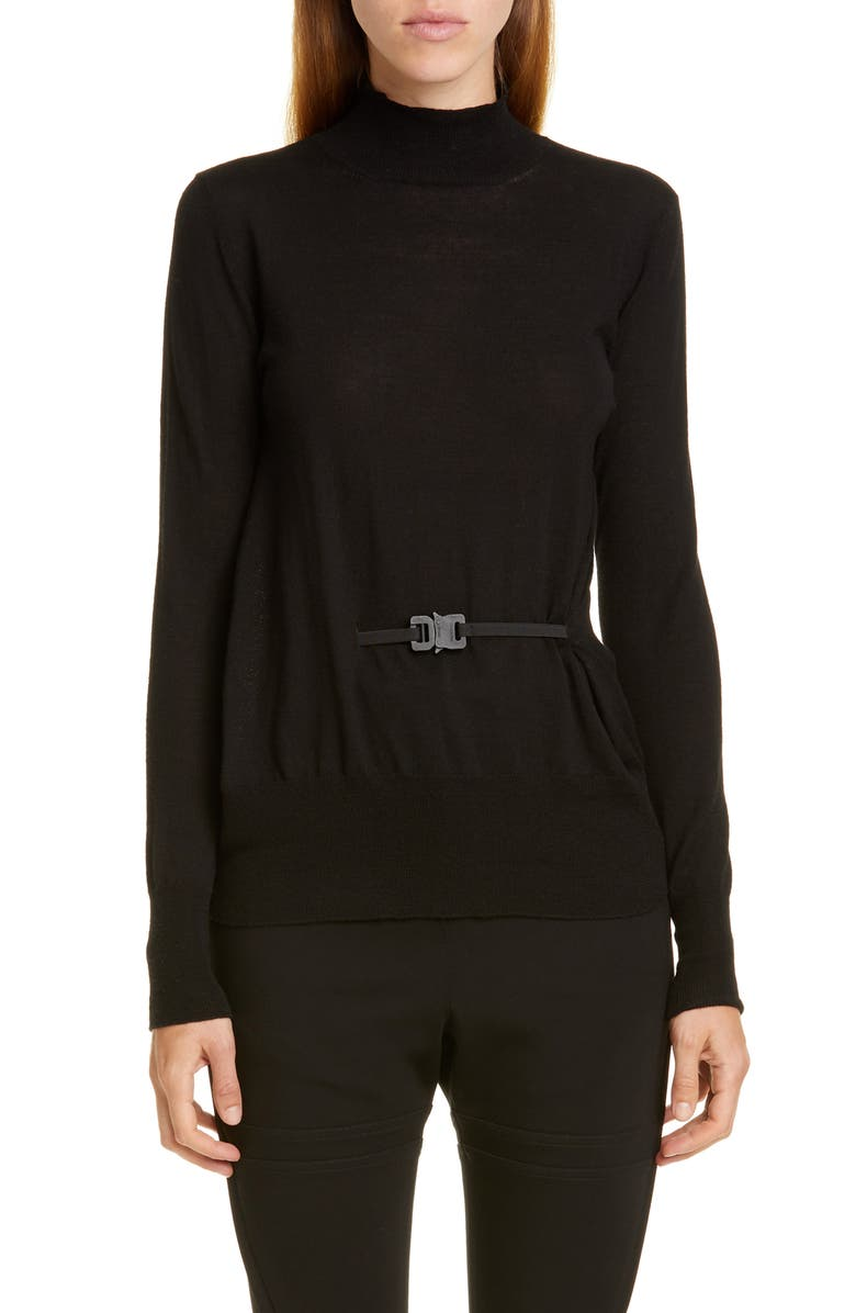 1017 ALYX 9SM Belted Merino Turtleneck Sweater, Main, color, 001