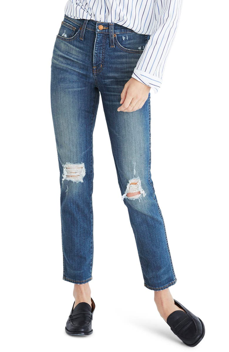 MADEWELL Distressed Slim Straight Leg Jeans, Main, color, FORSTER WASH
