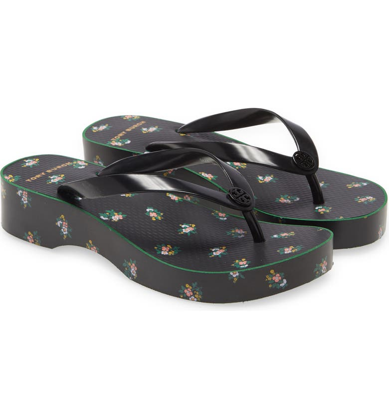 TORY BURCH Wedge Flip Flop, Main, color, PERFECT BLACK / DAYBREAK DITSY