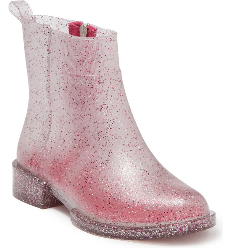 PETITE JOLIE Carry Zip Rubber Boot, Main, color, SILVER/PINK GLITTER