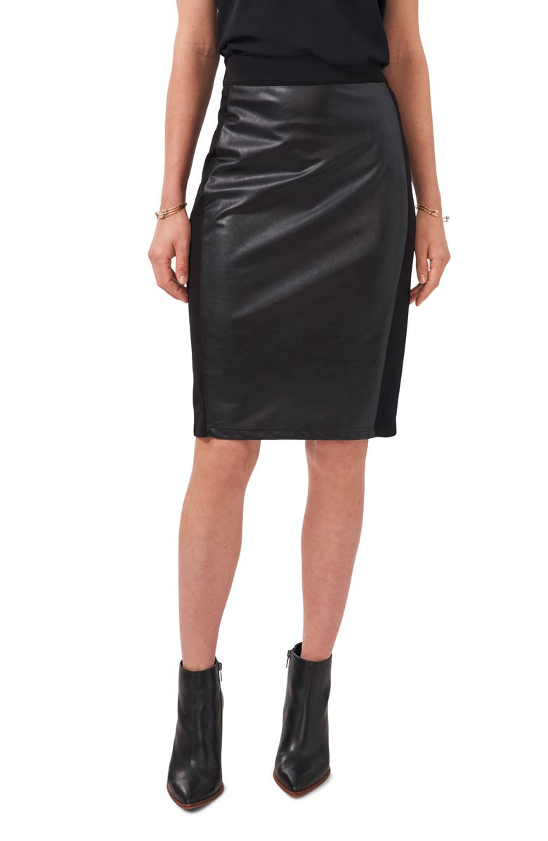 1.STATE Pieced Faux Leather & Knit Skirt, Main, color, RICH BLACK