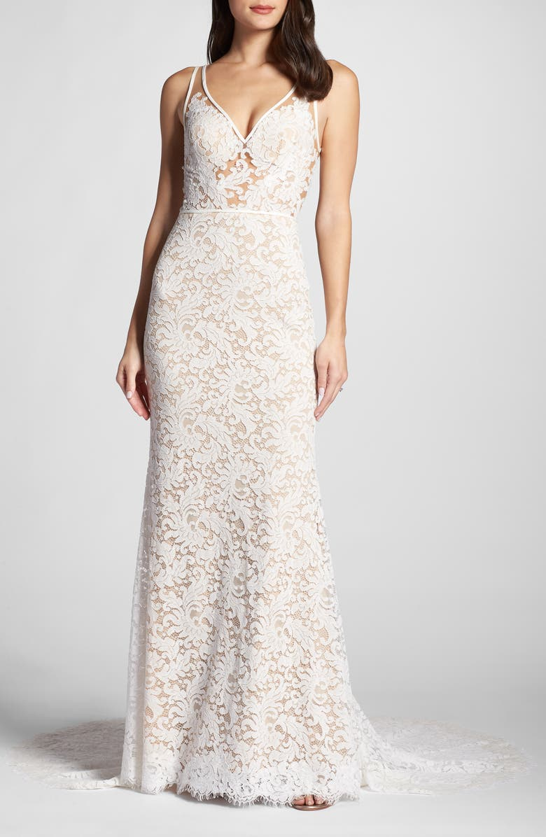WILLOWBY Derica Lace Gown, Main, color, IVORY / NUDE