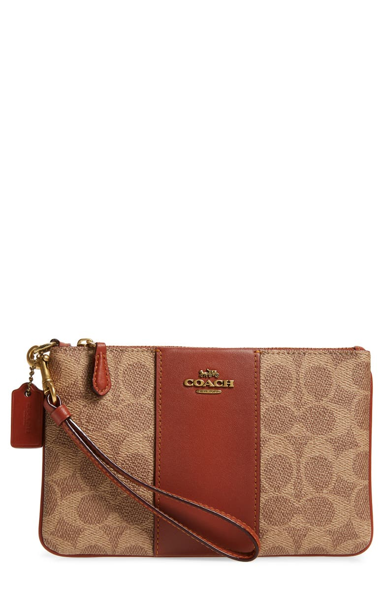 COACH Small Signature Canvas & Leather Wristlet, Main, color, B4/ TAN RUST