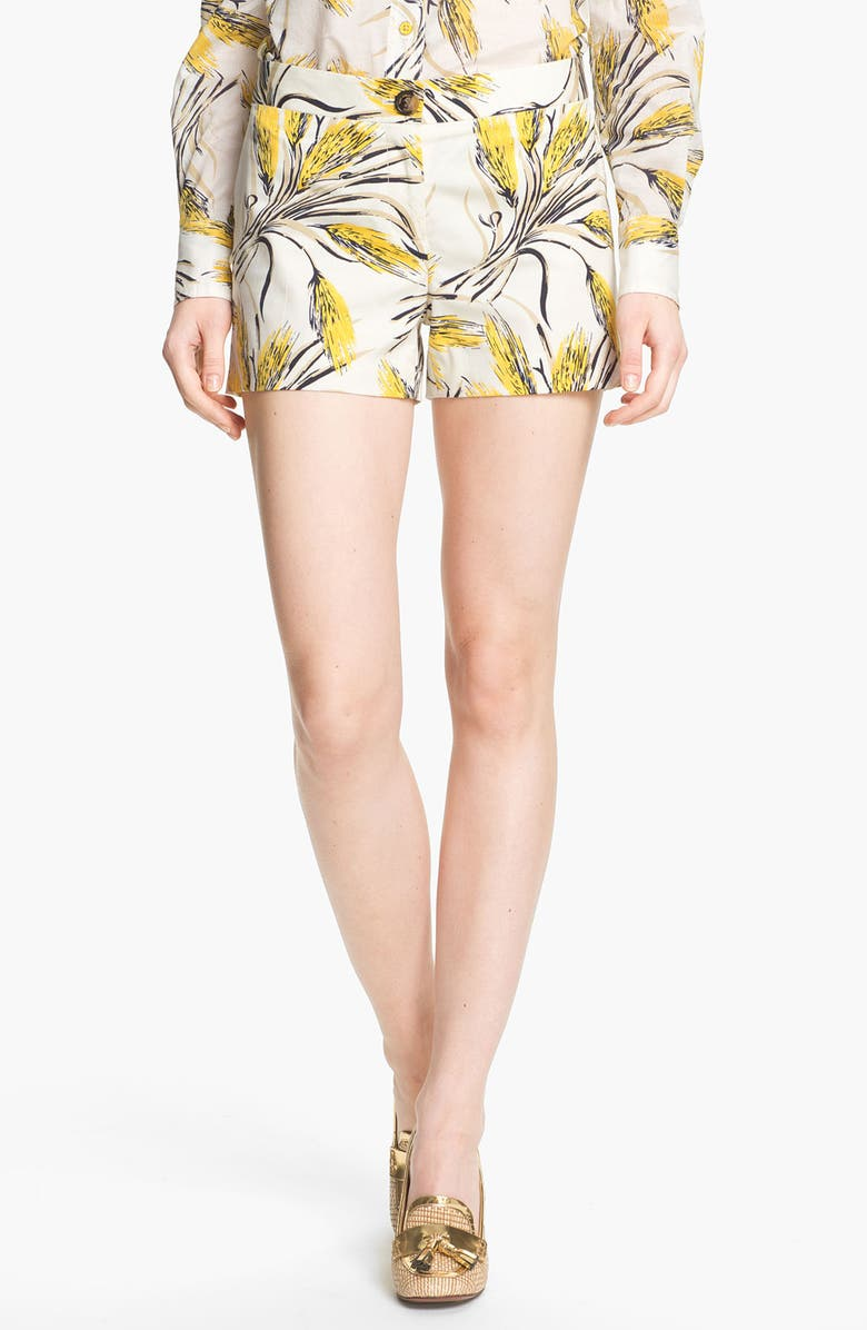 TORY BURCH 'Page' Print Shorts, Main, color, IVORY WHEAT