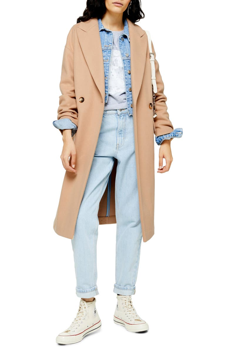 TOPSHOP Classic Double Breasted Coat, Main, color, CAMEL