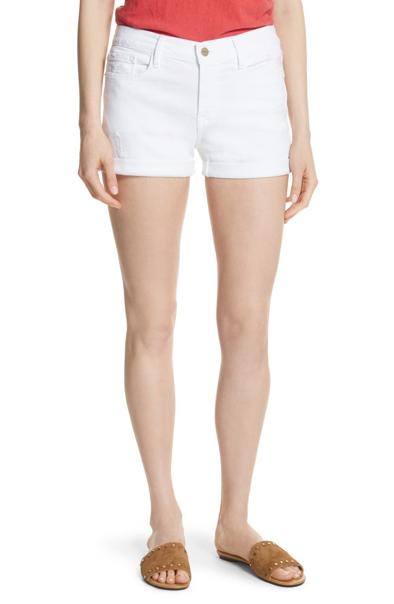 FRAME Le Cutoff Denim Shorts, Main, color, BLANC ROOKLEY