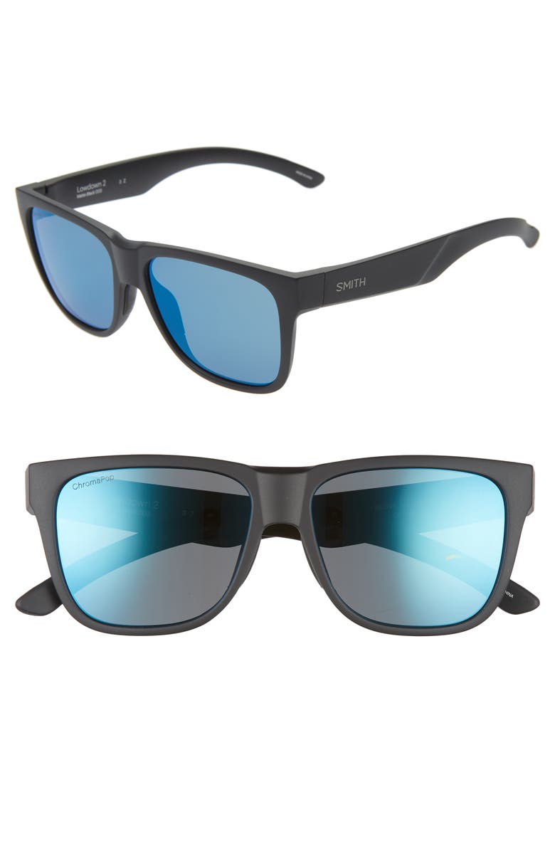 SMITH Lowdown 2 55mm ChromaPop<sup>™</sup> Polarized Sunglasses, Main, color, MATTE BLACK