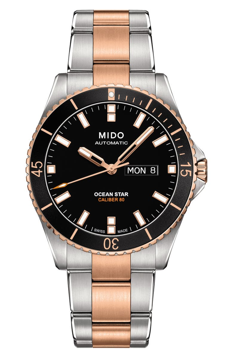 MIDO Ocean Star Diver Bracelet Watch, 42mm, Main, color, SILVER/ BLACK/ SILVER