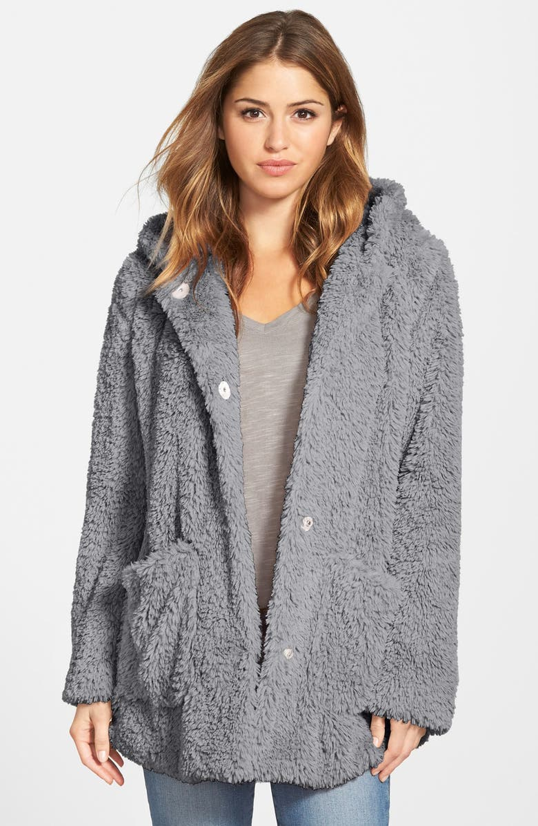 KENNETH COLE NEW YORK 'Teddy Bear' Faux Fur Hooded Coat, Main, color, 033