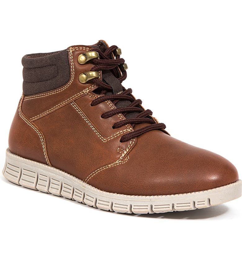 DEER STAGS Archer Jr Classic Lace-up Hybrid Comfort Casual Sneaker Brogue, Main, color, BROWN