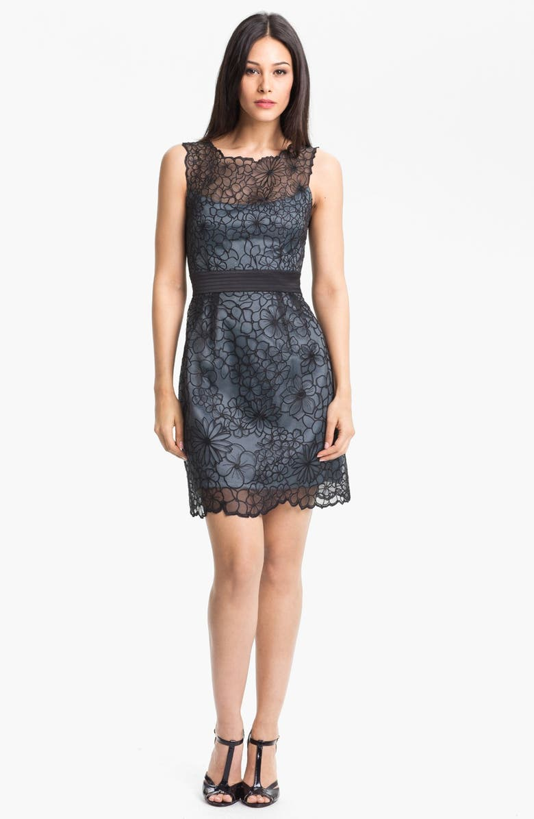 ADRIANNA PAPELL Embroidered Organza Sheath Dress, Main, color, 030