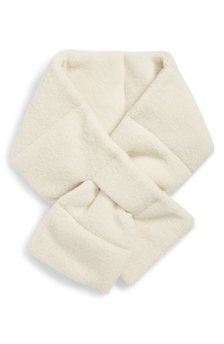 BP. Faux Shearling Puffer Scarf, Main, color, IVORY