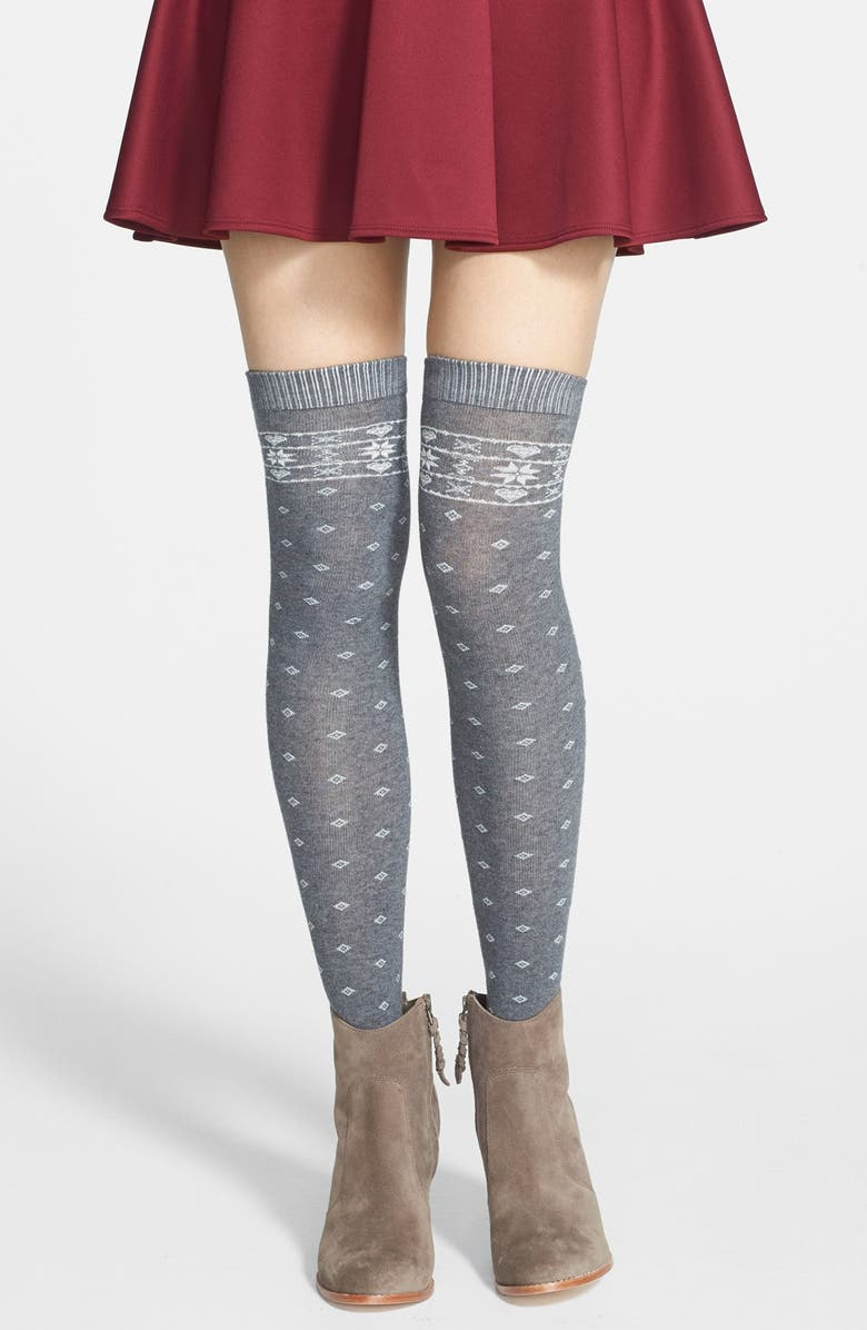 KENSIE 'Fair Isle' Over The Knee Socks, Main, color, 050