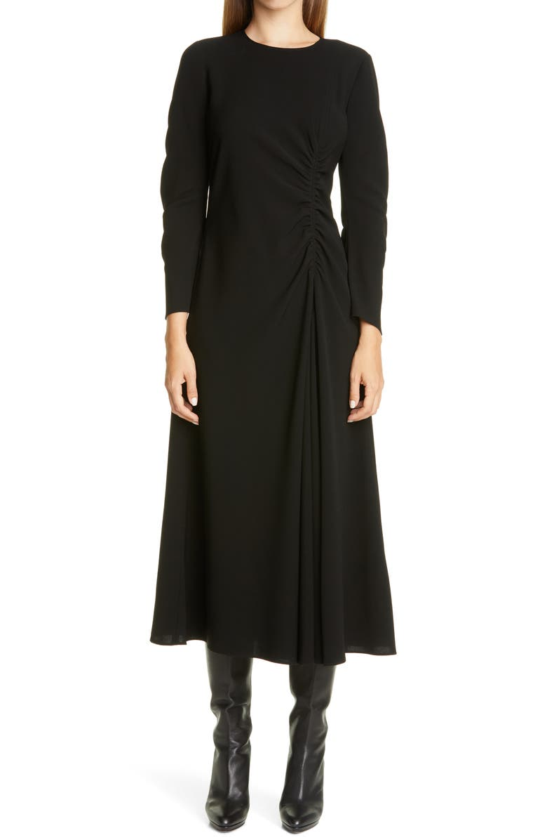 LAFAYETTE 148 NEW YORK Collina Ruched Long Sleeve Midi Dress, Main, color, 001