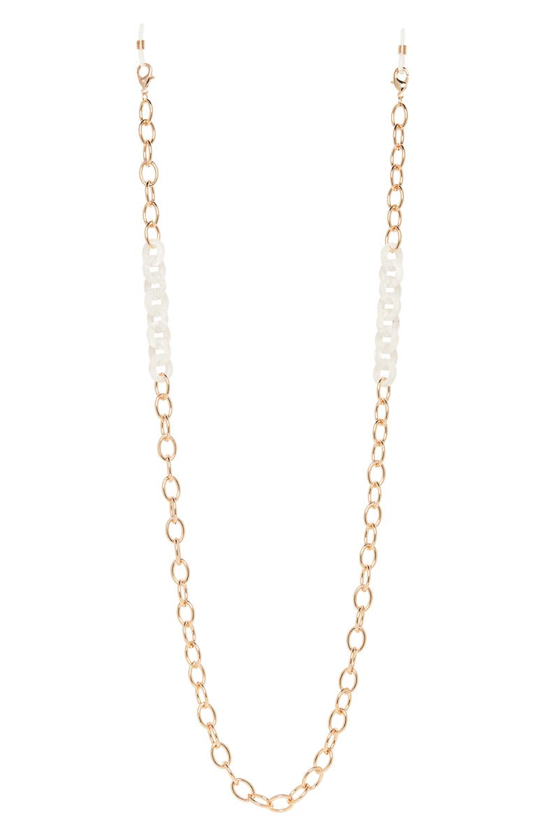 NORDSTROM Halogen<sup>®</sup> Resin Link Adult Face Mask Chain, Main, color, WHITE- GOLD
