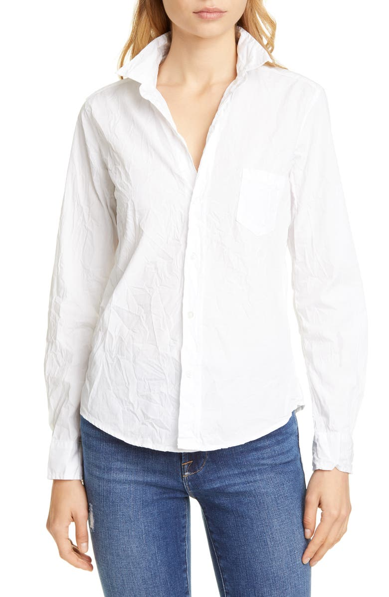 FRANK & EILEEN Barry Signature Crinkle Cotton Shirt, Main, color, WHITE