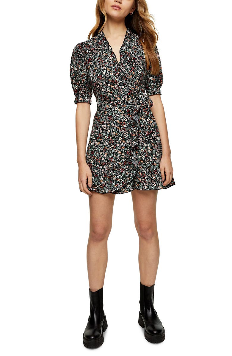 TOPSHOP Floral Wrap Minidress, Main, color, PINK MULTI