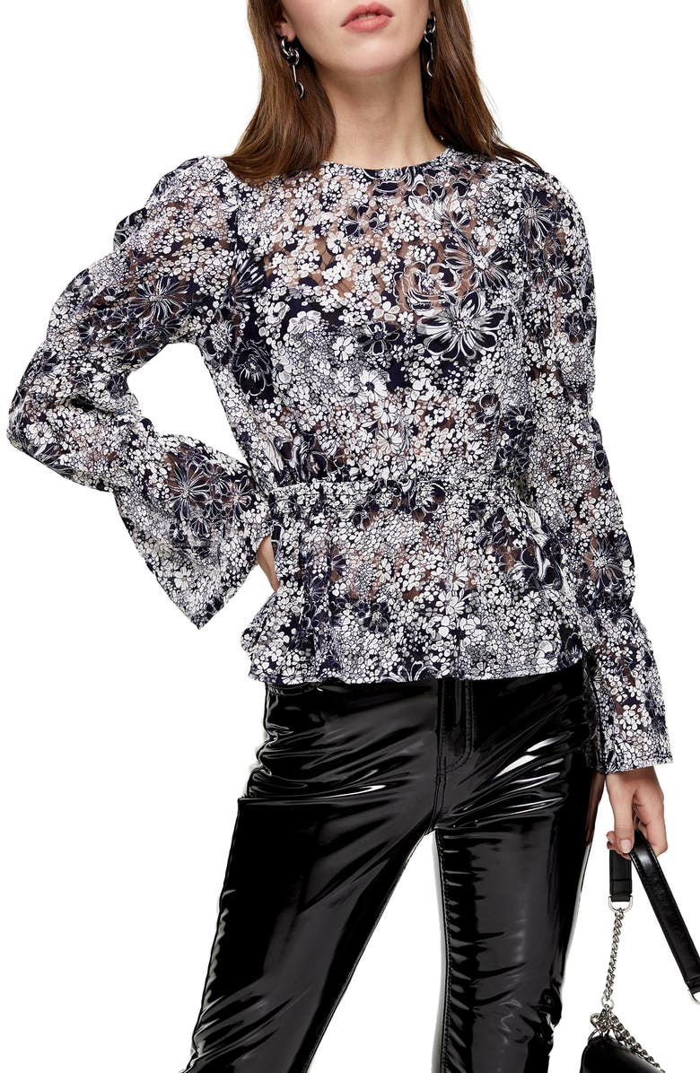 TOPSHOP Floral & Lace Bell Sleeve Top, Main, color, 411