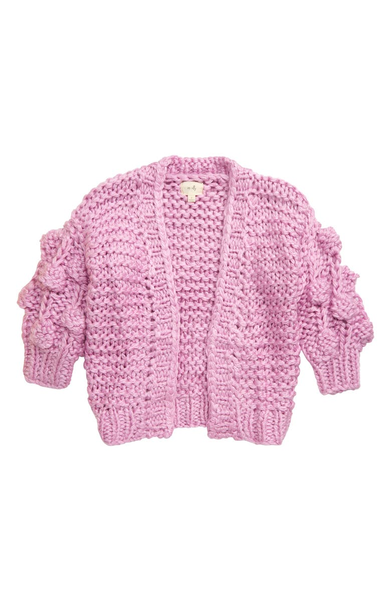 EN ELLY Pom Detail Knit Cardigan, Main, color, LILAC