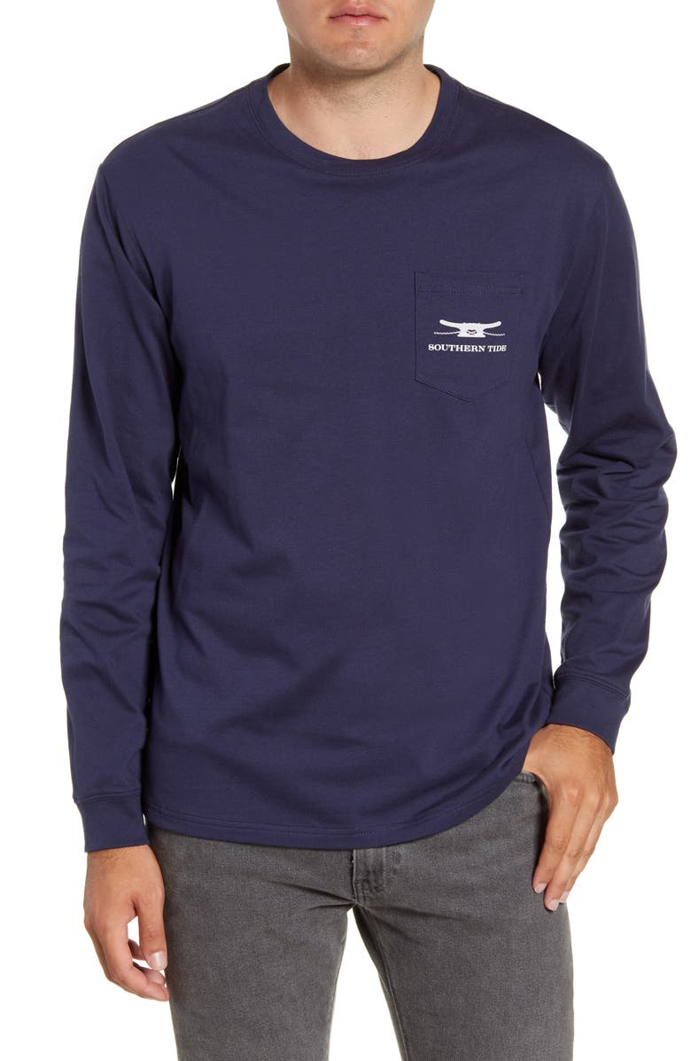 SOUTHERN TIDE Skipjack Rope Long Sleeve Pocket T-Shirt, Main, color, 408