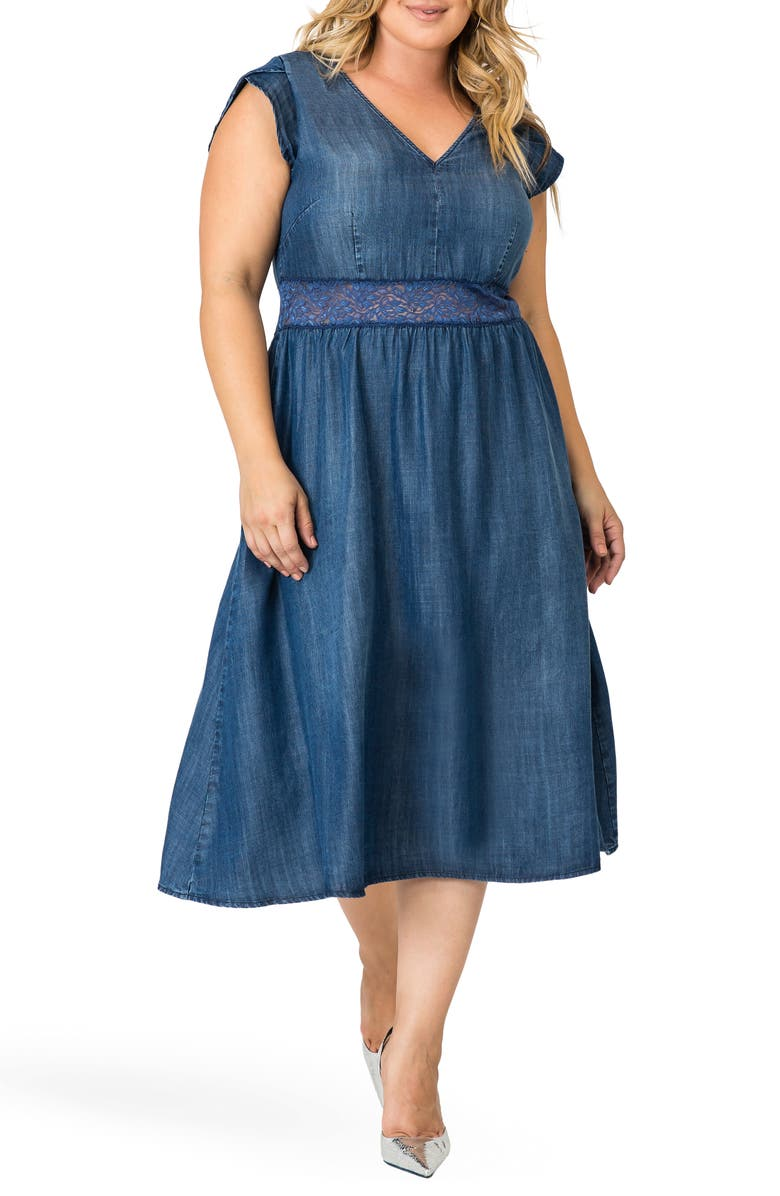 STANDARDS & PRACTICES Rosaleen A-Line Dress, Main, color, NAVY