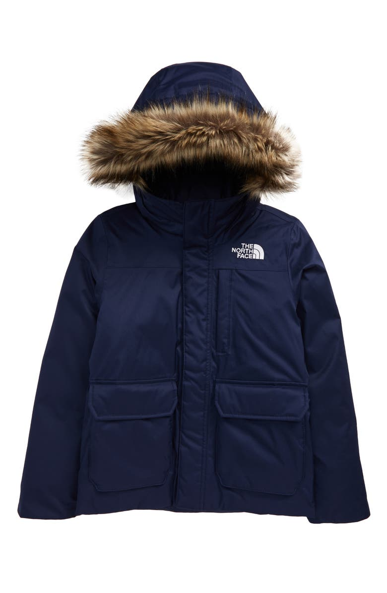 THE NORTH FACE Kids' Greenland Waterproof 550-Fill-Power Down Jacket with Faux Fur Trim, Main, color, TNF NAVY
