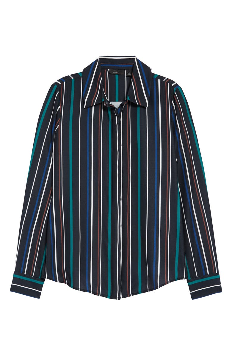 HALOGEN<SUP>®</SUP> Hidden Button Long Sleeve Blouse, Main, color, BLACK MULTI CARMELLA STRIPE