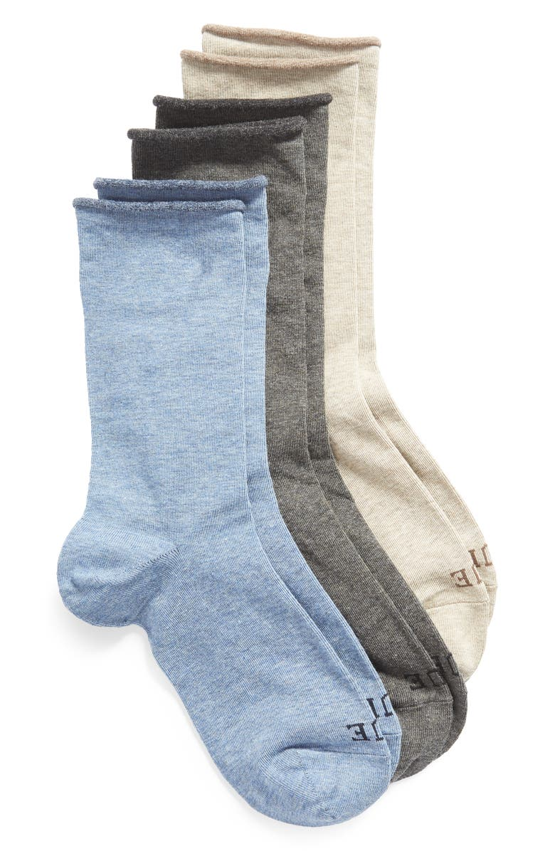 HUE Jeans 3-Pack Crew Socks, Main, color, ASSORTED PACK