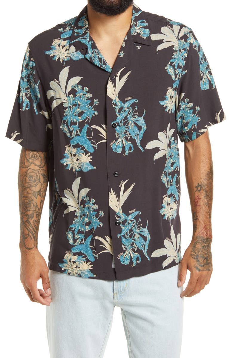 CARHARTT WORK IN PROGRESS Floral Print Short Sleeve Camp Shirt, Main, color, 001