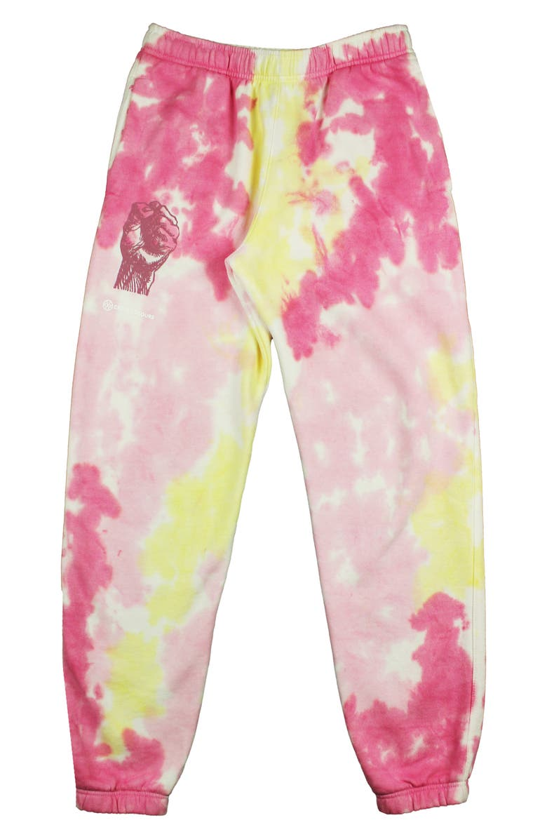 CROSS COLOURS Power to the People Tie Dye Graphic Joggers, Main, color, TIE DYE PINK