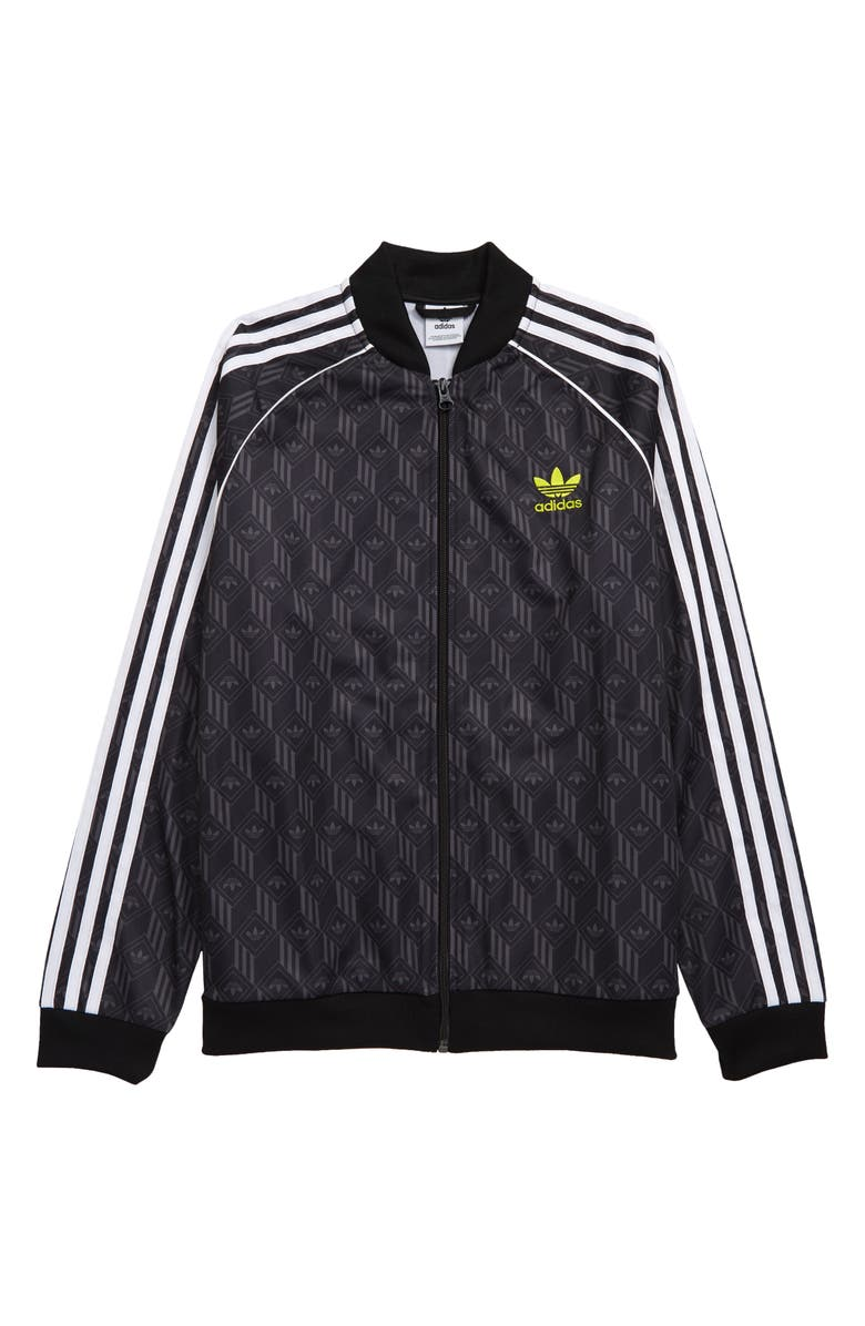 ADIDAS ORIGINALS Superstar Trefoil Print Track Jacket, Main, color, :BLACK/ GREY/ WHITE/ YELLOW