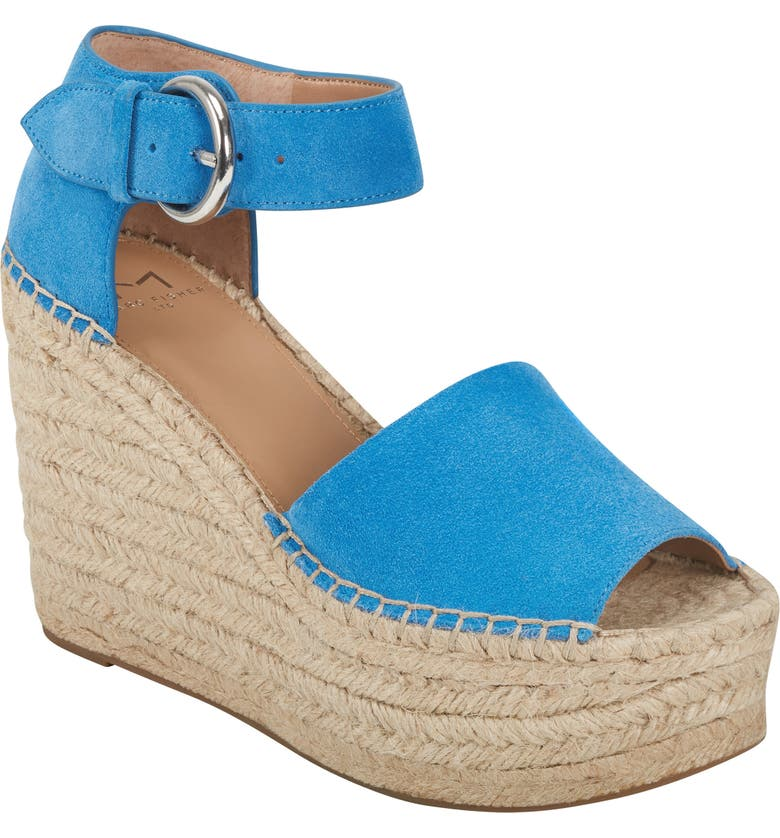 MARC FISHER LTD Alida Espadrille Platform Wedge, Main, color, BLUE/ BLUE SUEDE