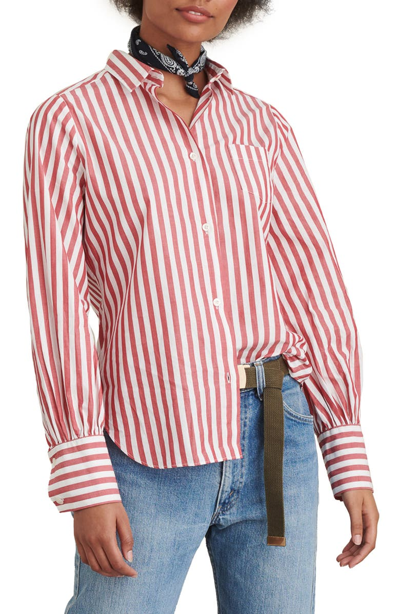 ALEX MILL Bobby Stripe Button-Up Shirt, Main, color, RED