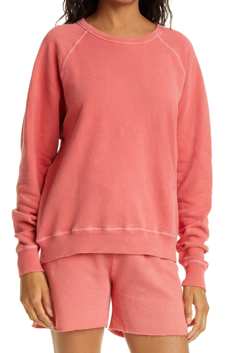 THE GREAT. The College French Terry Sweatshirt, Main, color, CORAL/ CORAL