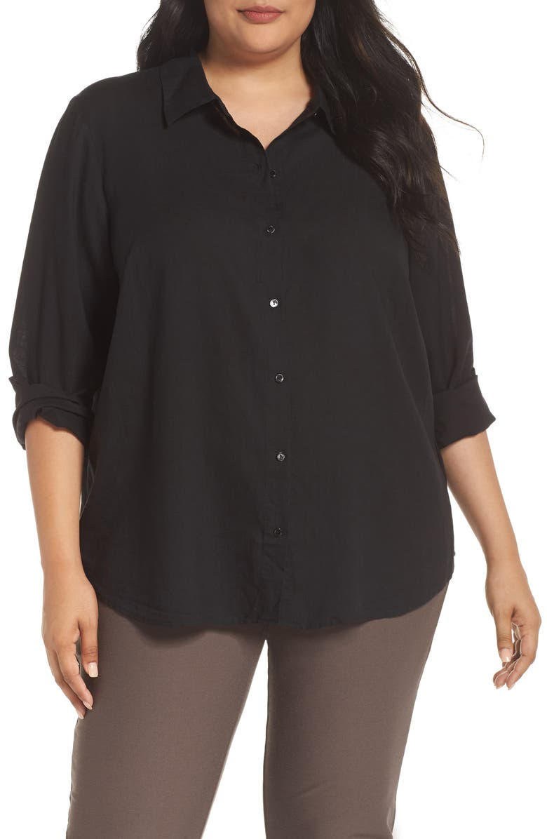 EILEEN FISHER Tencel<sup>®</sup> Lyocell Shirt, Main, color, 001