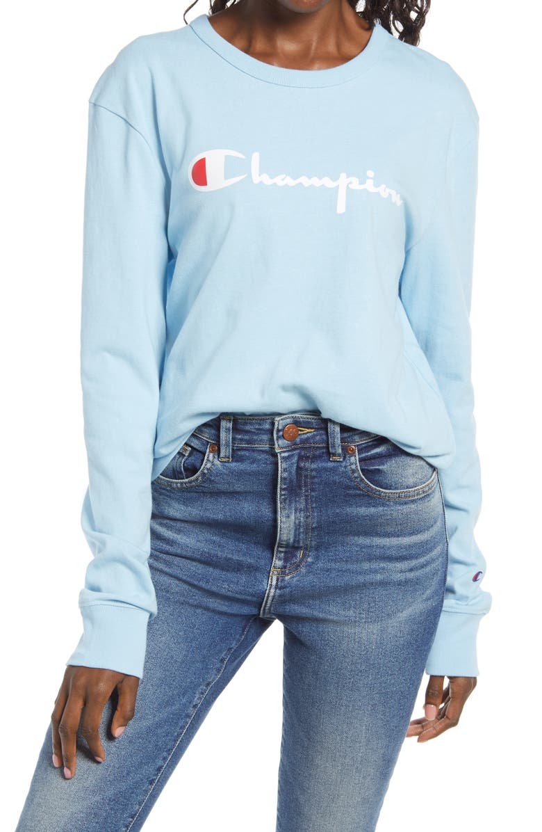 CHAMPION The Boyfriend Long Sleeve Graphic Tee, Main, color, CANDID BLUE