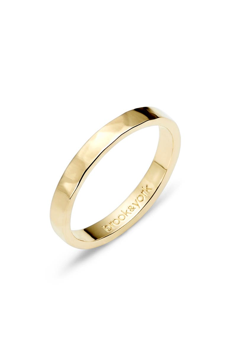 BROOK AND YORK Maren Thin Hammered Stacking Ring, Main, color, Gold