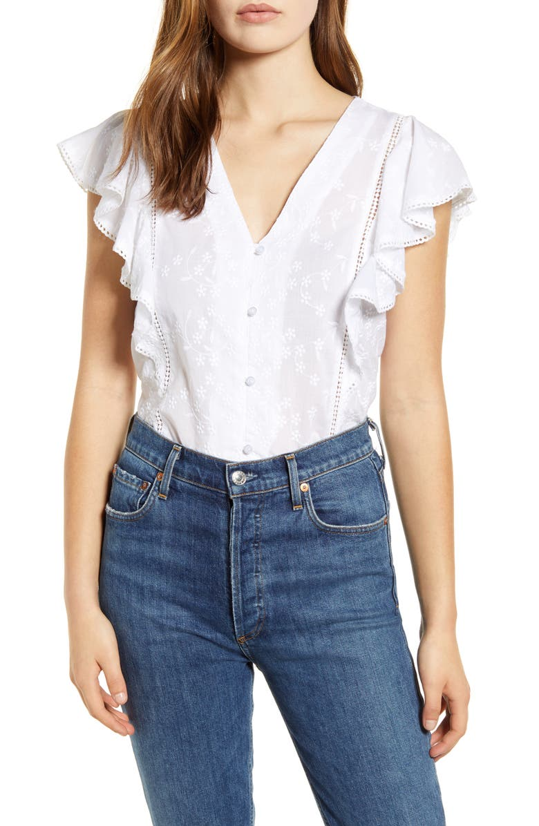 CASLON<SUP>®</SUP> Embroidered Ruffle Top, Main, color, 100