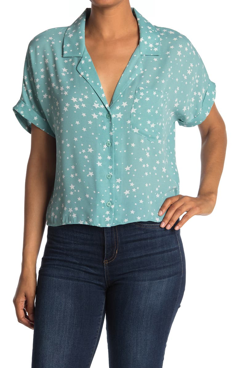 ABOUND Short Sleeve Camp Shirt, Main, color, GREEN STARS