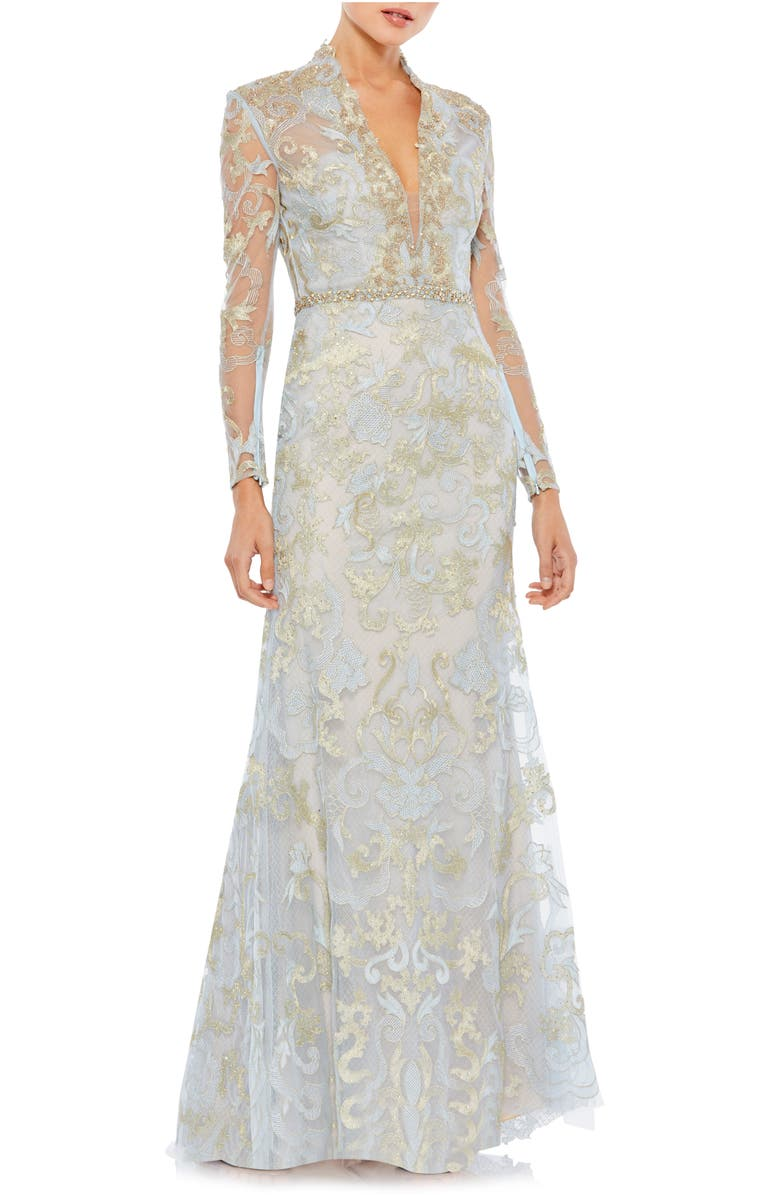 MAC DUGGAL Beaded Queen Anne Lace Long Sleeve Trumpet Gown, Main, color, POWDER BLUE