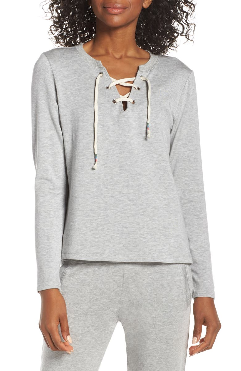 BEYOND YOGA Lace-Up Pullover, Main, color, 020