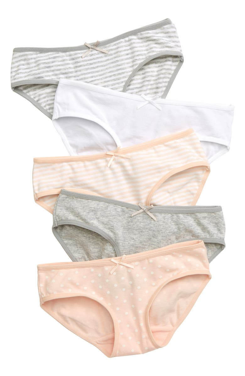 TUCKER + TATE Kids' 5-Pack Hipster Briefs, Main, color, PINK-GREY PACK