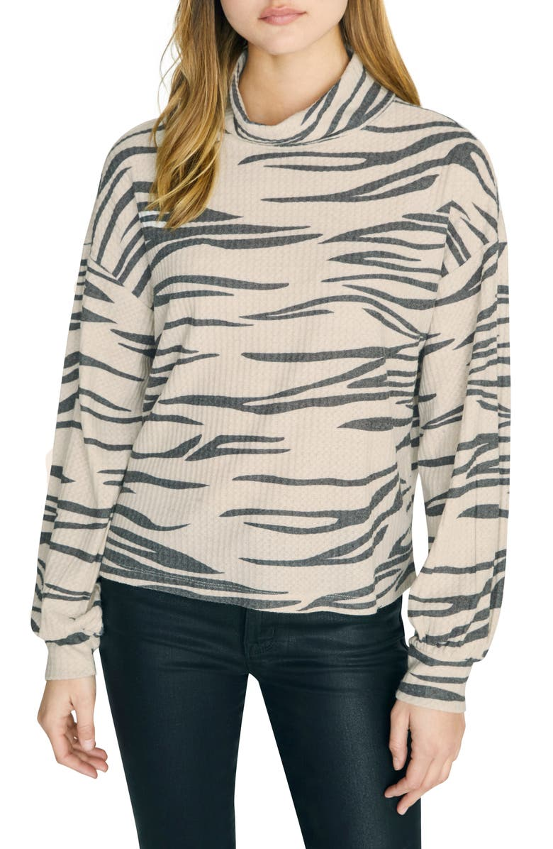 SANCTUARY Klara Zebra Print Waffle Knit Turtleneck, Main, color, 255