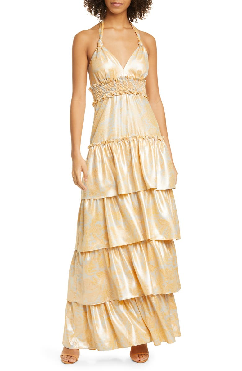 LIKELY Ivy Tiered Satin Maxi Dress, Main, color, 733